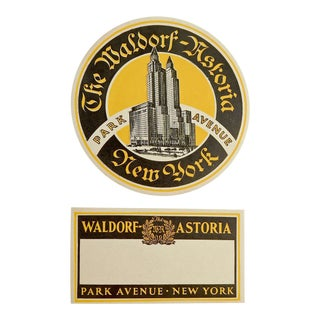 Waldorf Astoria Hotel New York Luggage Labels - A Pair