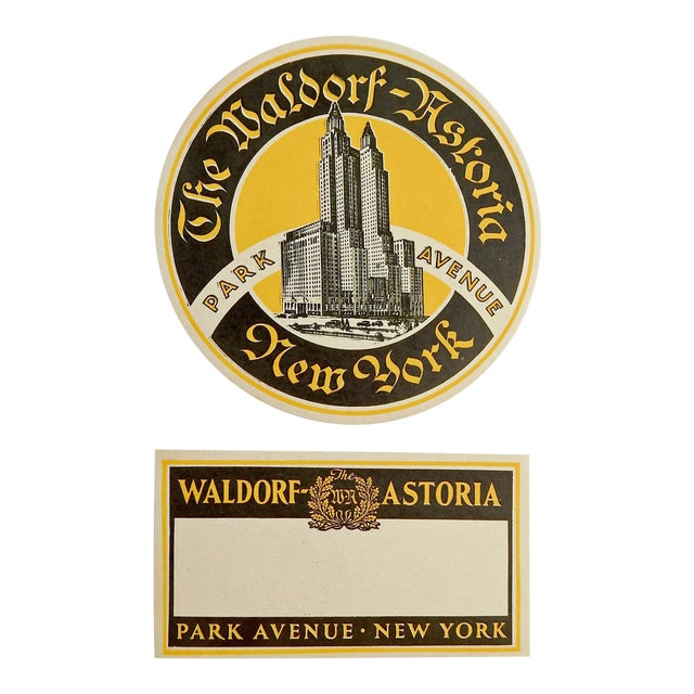 Waldorf Astoria Hotel New York Luggage Labels - A Pair For Sale