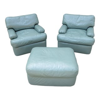 Directional Leather Lounge Chairs and Ottoman -Attributed to Milo Baughman For Sale