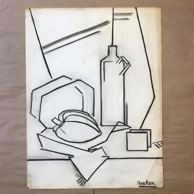 1930s Charcoal Cubist Still Life For Sale - Image 5 of 5