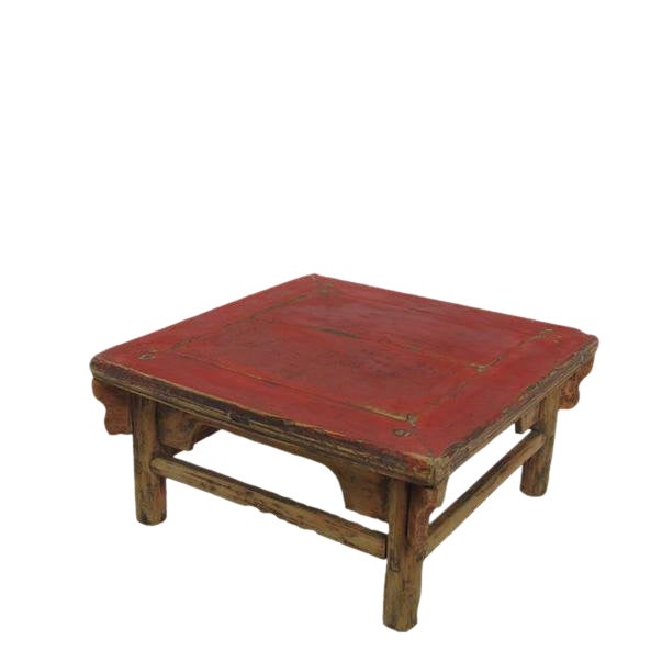 1916 Antique Chinese Low Red Accent Table For Sale
