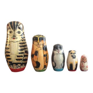 Vintage Cat Nesting Dolls - Set of 5