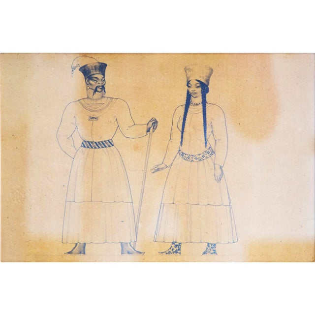 An original costume drawing for Metropolitan opera house. Piece is pen and graphite on paper, depicting two regal figures,...