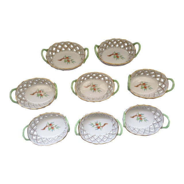 Vintage Herend Hungary Porcelain Lattice & Cherry Design Individual Nut or Sweetmeat Baskets - Set of 8 For Sale