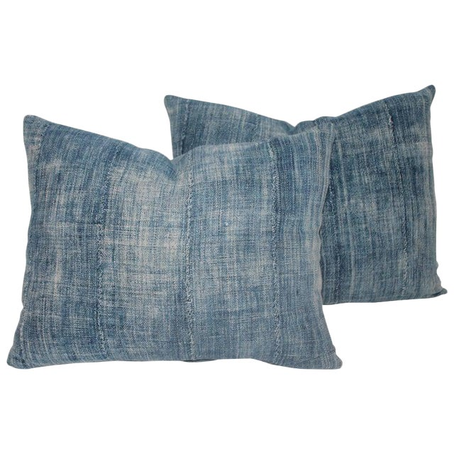 Blue 19th Century Linen Pillows - A Pair For Sale