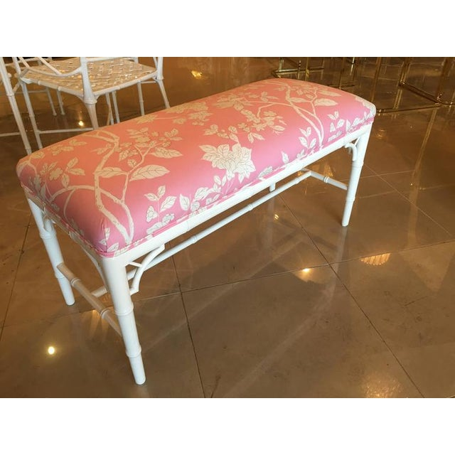 Faux Bamboo Chinese Chippendale Pink Lacquered Bench For Sale - Image 9 of 10
