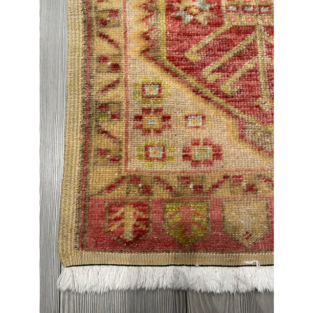 Turkish Vintage Garnet & Gold Shield Patterned Prayer Rug For Sale - Image 3 of 7