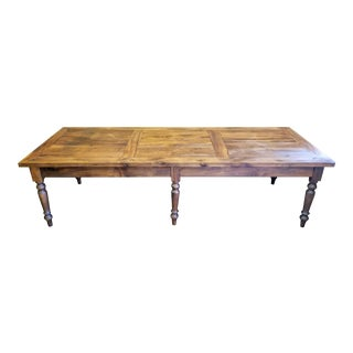 Large Rustic French Farmhouse Peg Constructed Solid Walnut Dining Table For Sale