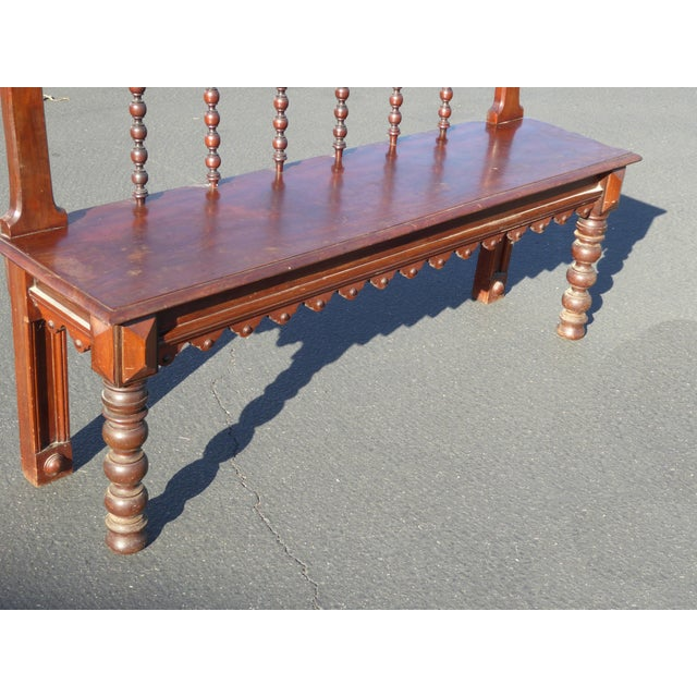 Vintage Spanish Colonial Style Carved Wood Spindle Bench Settee - Image 7 of 10