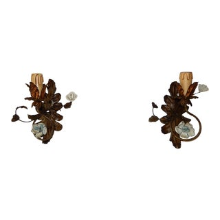 19th Century Italian Tole and Porcelain Roses Polychrome Flowers Sconces For Sale