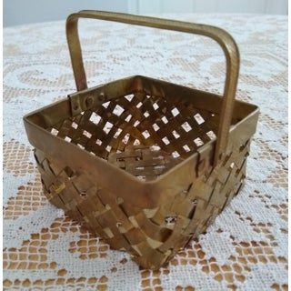 Vintage Brass Woven Basket Preview