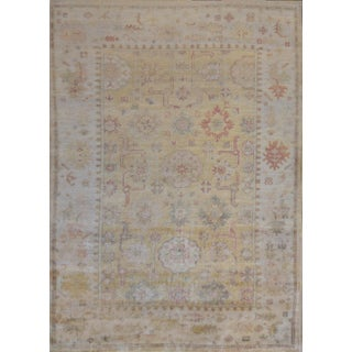 """Turkish Mansour Handwoven Wool Oushak Rug - 6'1' X 8'7"""" For Sale"""