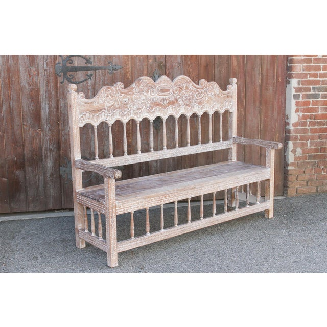 Spanish Colonial High Back Bench For Sale In Los Angeles - Image 6 of 10