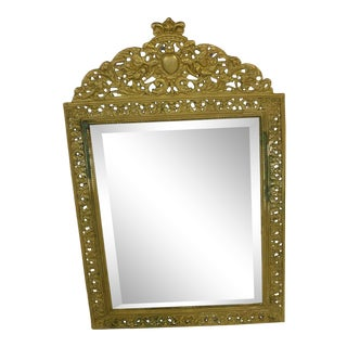 English Style Brass Framed Mirror For Sale