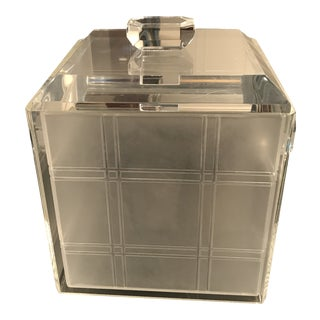 1960s Square Lucite Ice Bucket For Sale