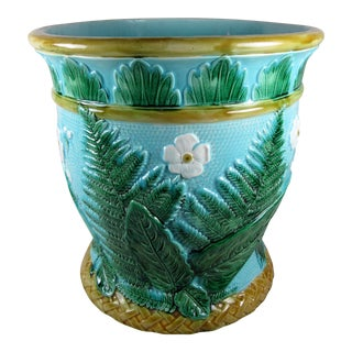 Fern & Floral English Majolica Jardinière For Sale