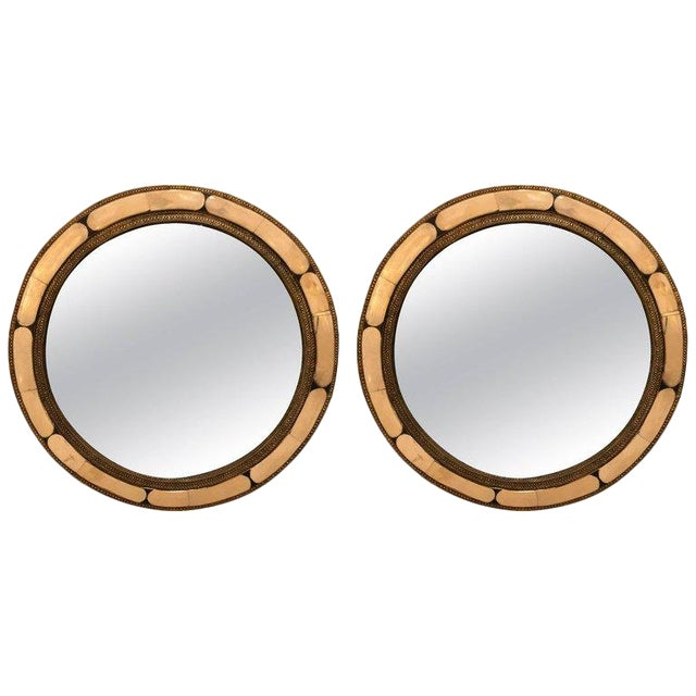 1990s White Brass Moorish Style Mirrors - a Pair For Sale
