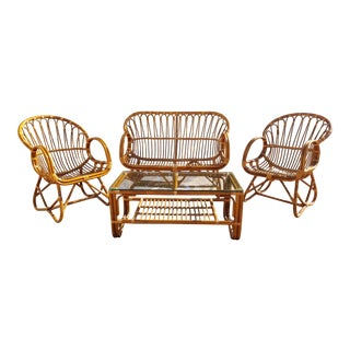 Vintage Mid-Century Albini Style Rattan Seating Set - 4 Pieces For Sale