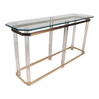 Mid-Century Modern Brass and Lucite Console Table by Charles Hollis Jones For Sale