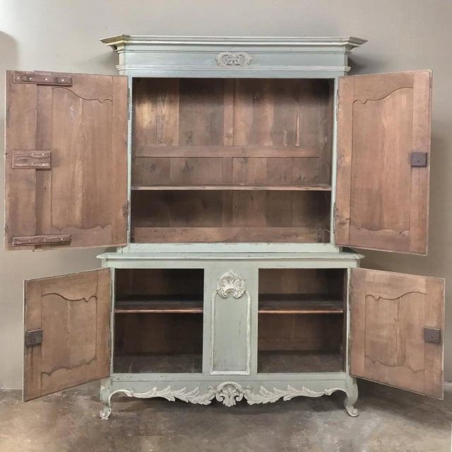 Country 18th Century Country French Painted Provincial Buffet a Deux Corps For Sale - Image 3 of 13