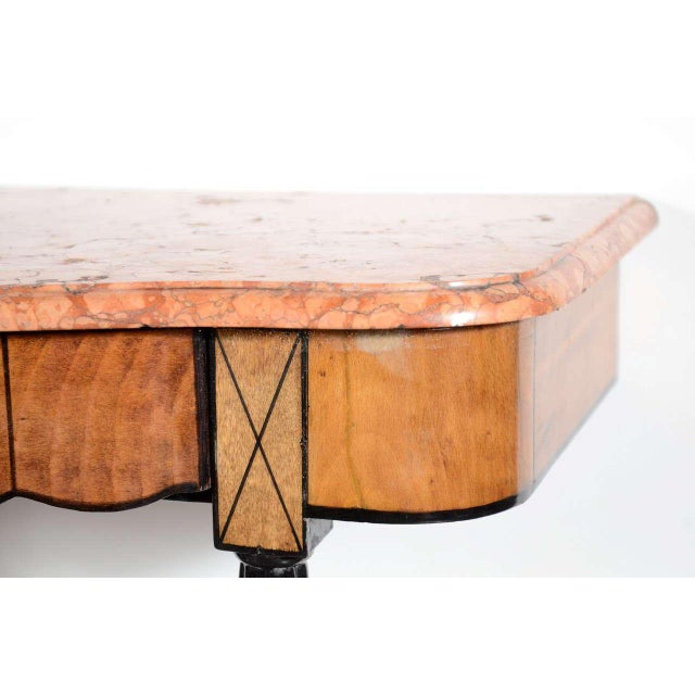 1930s Art Deco Exotic Marble Top Console Table For Sale - Image 5 of 9