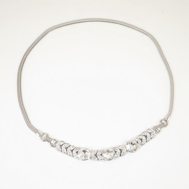 Art Deco Engel Brothers Rhodium Sterling & Crystal Necklace 1930s For Sale - Image 4 of 13