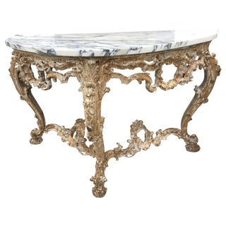 1850 Italian Distressed Paint Console With Marble Top For Sale