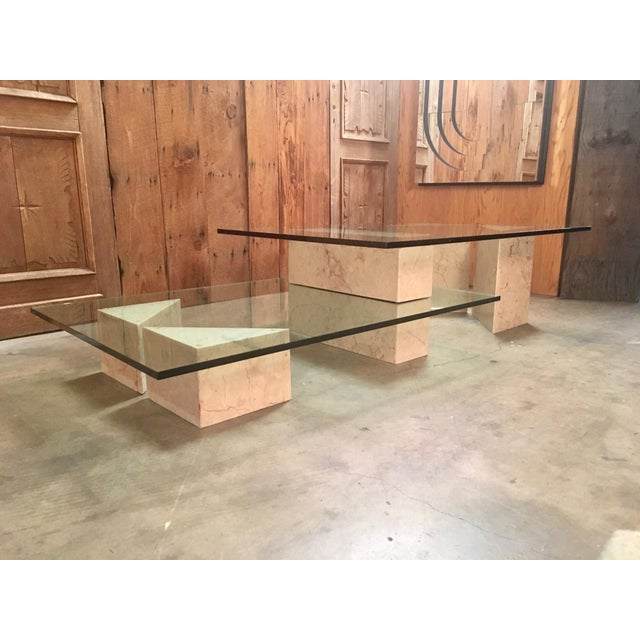 Mid Century Modern Multi Level Marble And Glass Coffee Table