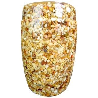 Lucite Resin With Stone Inclusion Covered Jar For Sale