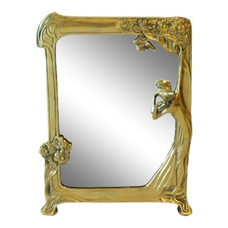 Brass Vanity Mirror in the Art Nouveau Style For Sale