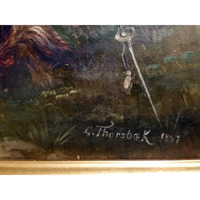 Oil Paint 1897 Franco Prussian War Oil Painting on Board by G. Thorsbaek For Sale - Image 7 of 8