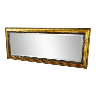 Gold Embossed Wood Framed Floor Mirror For Sale