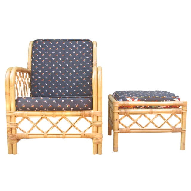 Ficks Reed Bamboo Chair & Ottoman / Side Table For Sale