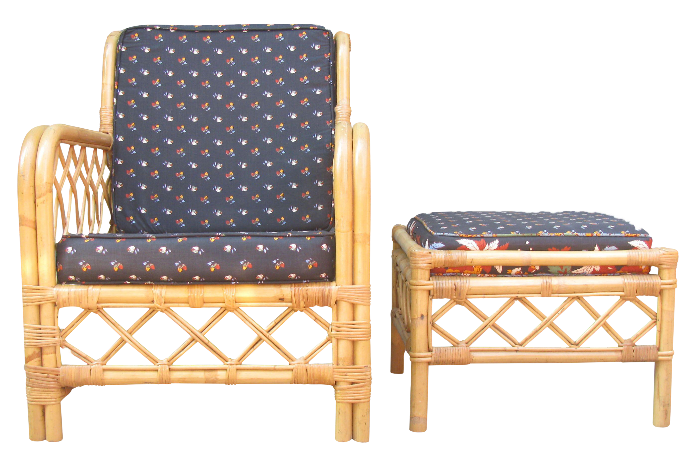 Ficks Reed Bamboo Chair u0026 Ottoman / Side Table  sc 1 st  Chairish & Vintage u0026 Used Rattan Chair and Ottoman Sets | Chairish