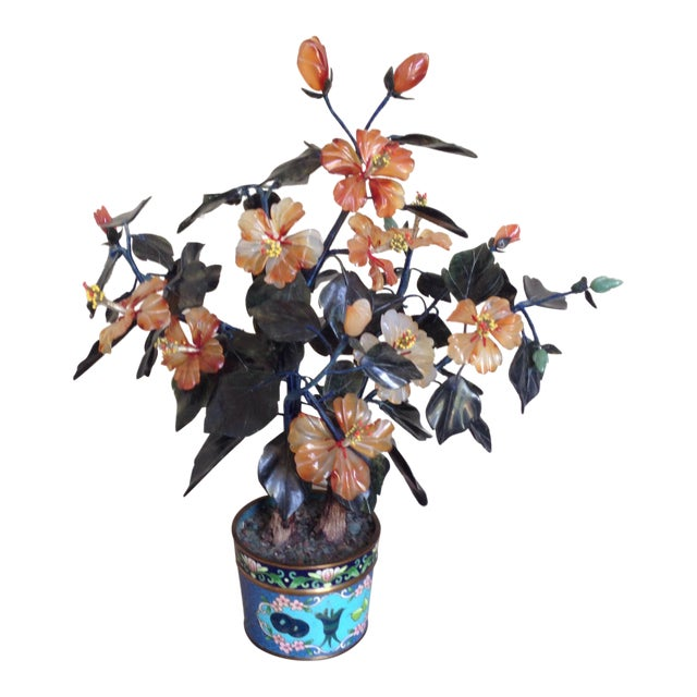 Vintage Flowering Jade Tree in Cloisonné Planter - Image 1 of 6