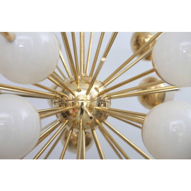 1 of 2 Huge Sputnik Murano Glass and Brass Chandelier Attributed to Stilnovo For Sale - Image 4 of 7