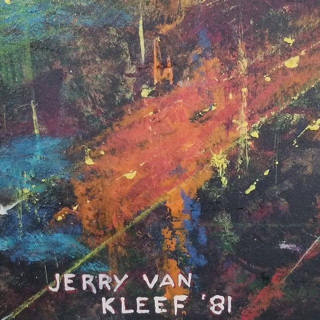 """Striking stylized brutalist/ abstract cityscape in vibrant colors. Signed """"Jerry Van Kleef '81"""" in lower left. Oil on..."""
