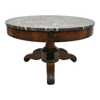 American Empire Round Marble Top Flame Mahogany Pedestal Base Coffee Table For Sale