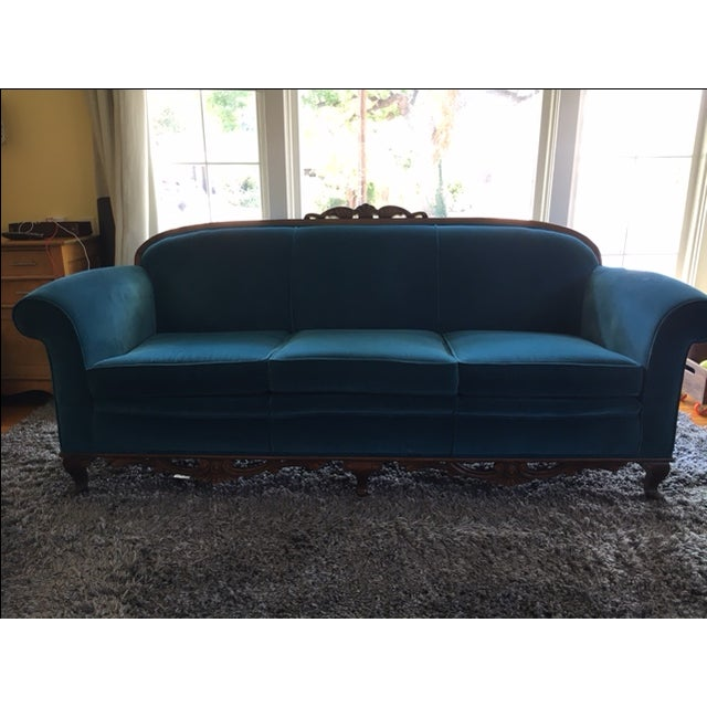 This beautiful restored vintage sofa has a great shape and was reupholstered in San Francisco in 2013, with new peacock...