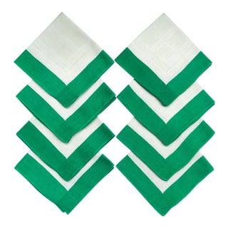 Set 8 Linen Napkins Green Borders For Sale