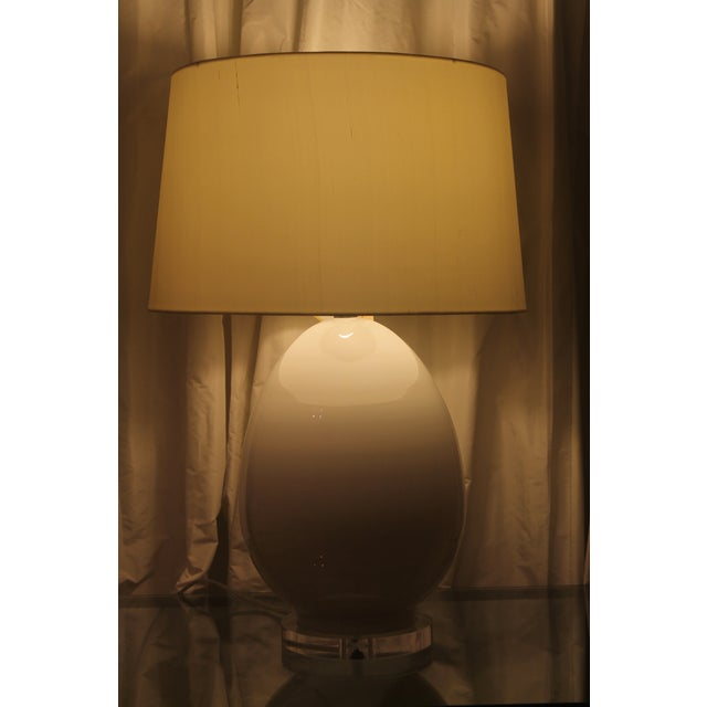 Large, brand new gorgeous egg-shaped glass table lamp. The perfect white lamp with a beautiful new shade.