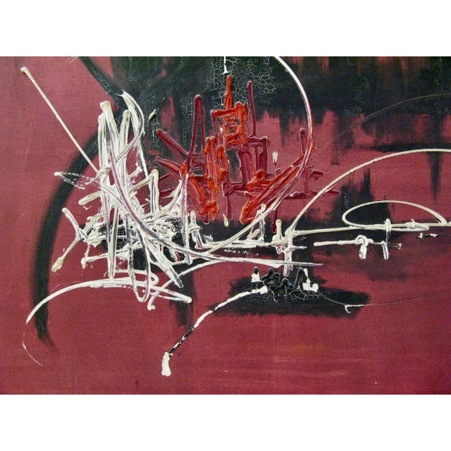 Canvas French Abstract Oil on Canvas in the Manner of Georges Mathieu, 1974 For Sale - Image 7 of 9