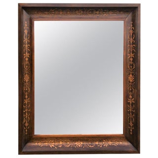19th Antique Marquetry Inlaid Mahogany Mirror For Sale
