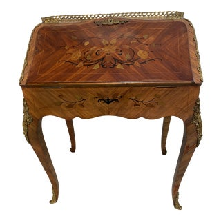Spanish Gilt Bronze-Mount Walnut and Marquetry Secretary Desk For Sale