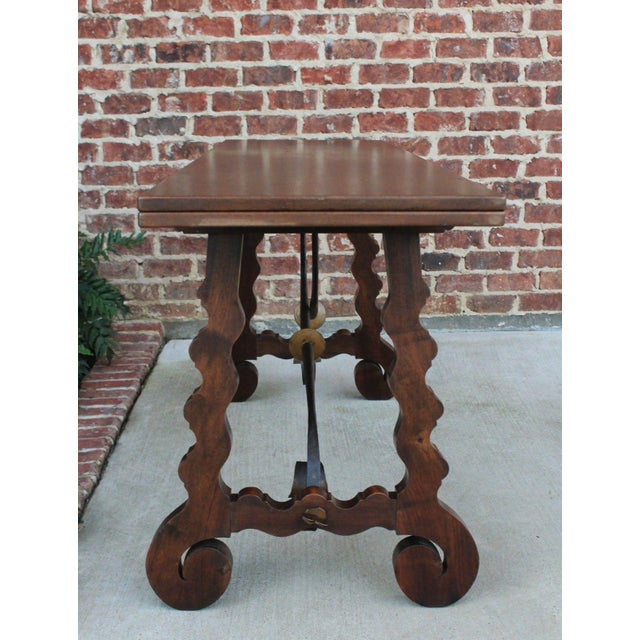Antique French Spanish Walnut Mission Catalan Dining Table Sofa Table For Sale In Dallas - Image 6 of 13