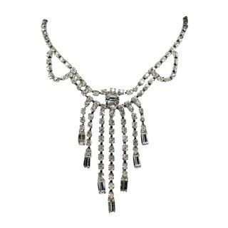 Rhinestone Choker Bib Necklace, Circa 1950/60s For Sale