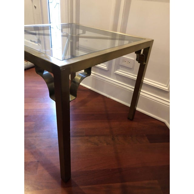 Brass Hollywood Regency Brass & Glass Accent Table For Sale - Image 8 of 9