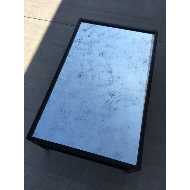Antique Mirror Top Coffee Table With Ebonized Black Walnut Frame For Sale In Los Angeles - Image 6 of 13