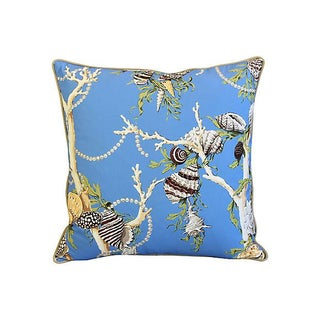"Designer Nautical Blue Coral & Shells Feather/Down Pillows 26"" Square - Pair Preview"