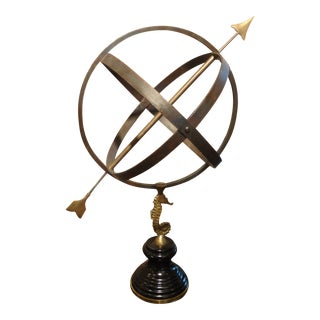 Italian Neoclassical Style Iron, Brass and Wood Armillary Sphere For Sale